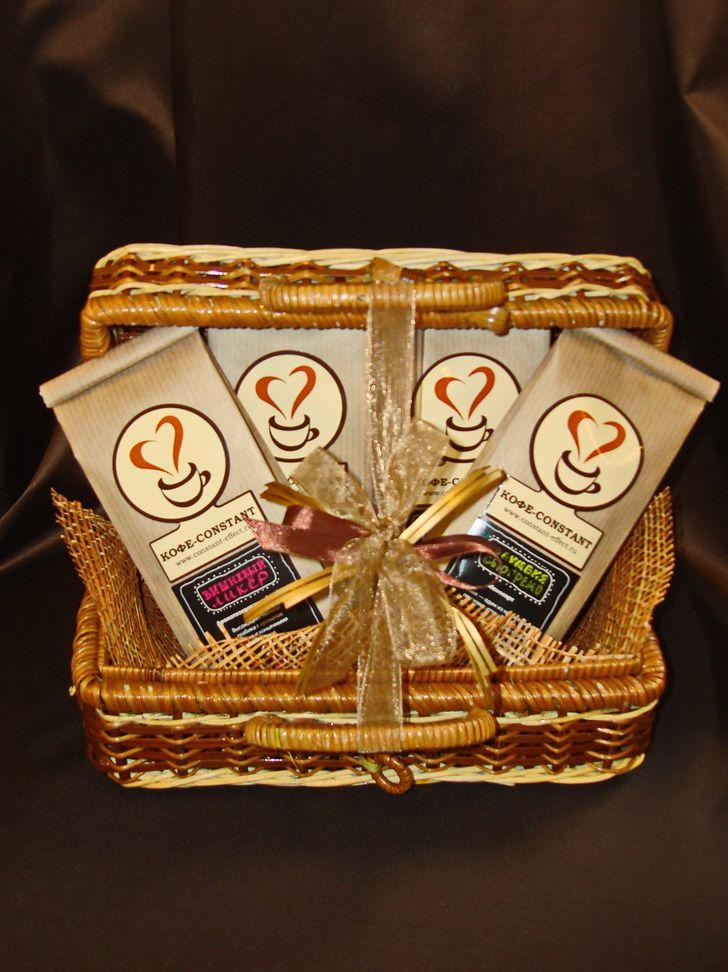 Плетеный сундучок с кофе - подарочный набор № 56