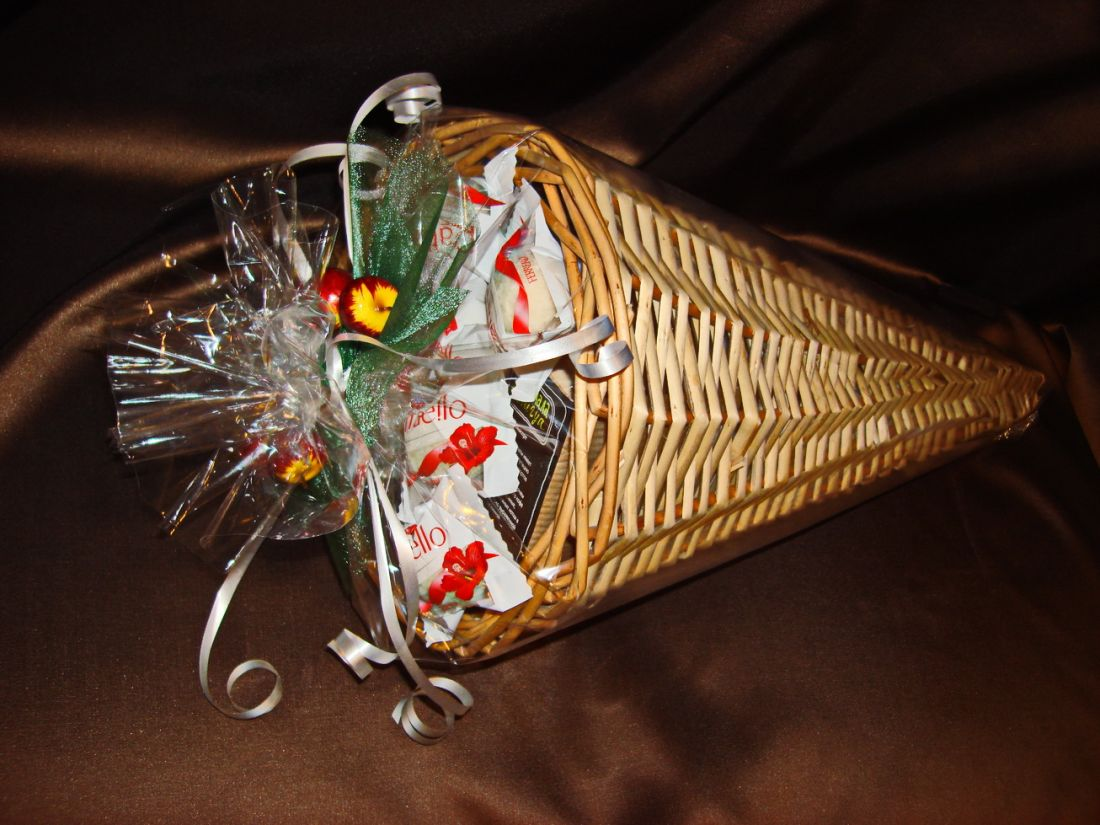 Рог Изобилия - подарочный набор с кофе, чаем и конфетами № 50